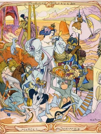 Central Panel of a Triptych Illustration from the Book 'La Porte Des Reves' by Marcel Schwob, 1899