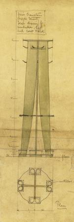 Design for an Umbrella, Hat and Coat Stand, Shown in Elevation and Plan, C.1898-1899