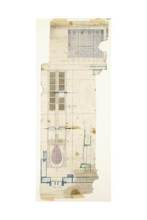 Design for a Wardrobe, Shown in Elevation, with Half-Full Size Details of Decorative Panel, 1904