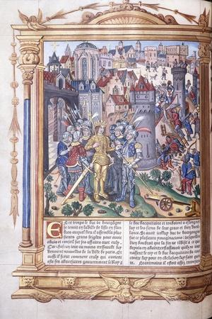Illuminated Manuscript Depicting a King and His Army before a City, 1503-04