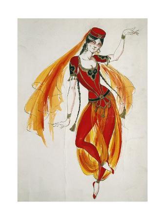 Costume Sketch for Persian Dancer in Opera Luisa Miller, 1849