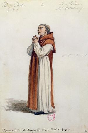 Costume Sketch for Role of Monk for Premiere of Opera Don Carlos