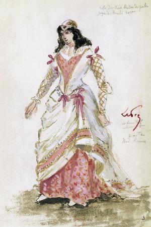 Costume Sketch by Lepic for Role of Gilda in Premiere of Opera Rigoletto