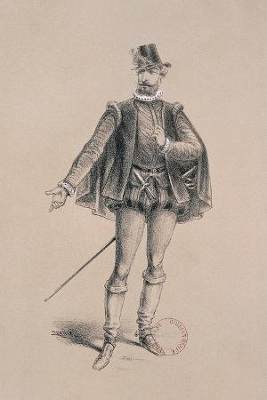 Costume Sketch for Role of Marquis of Posa for Premiere of Opera Don Carlos