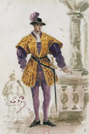 Costume Sketch by Lepic for Role of Duke of Mantua in Premiere of Opera Rigoletto