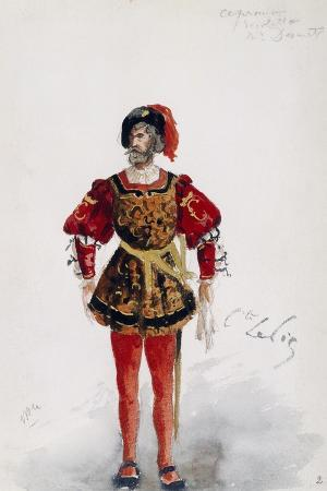 Costume Sketch by Lepic for Role of Count of Ceprano in Premiere of Opera Rigoletto