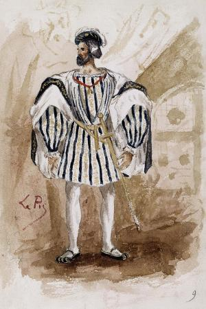 Costume Sketch by Lepic for Role of Count of Monterone in Premiere of Opera Rigoletto