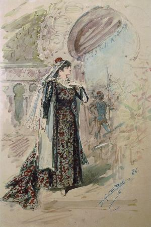 Costume Sketch by Alfred Edel for the Role of Emilia in the Third Act of the Opera Otello