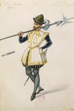 Costume Sketch for Role of an Archer of Henry II of France for Premiere of Opera Don Carlos