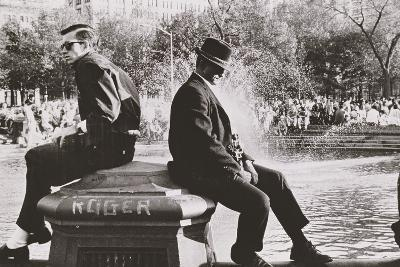 Two Men Sitting Back to Back Near Washington Square Park Fountain, Untitled 9, C.1953-64
