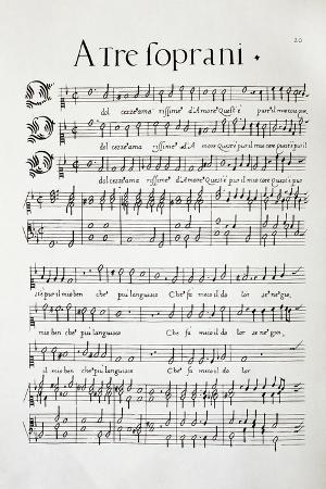 Music Score of Madrigals Tre Soprani, Per Cantare Et Sonare