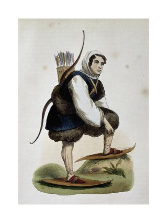 Samoiede, Inhabitant of Siberia, Colored Engraving from Customs of Asia