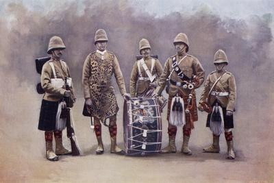 Private, Drummers, Piper and Bugler of the Black Watch During the Second Boer War