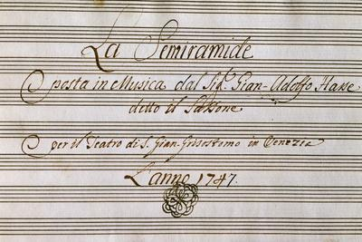 Frontispiece of Handwritten Music Score of Semiramis Recognized