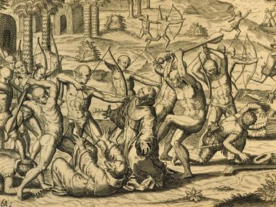Martyrdom of Missionary Monks in South America, Engraving from Historia Americae