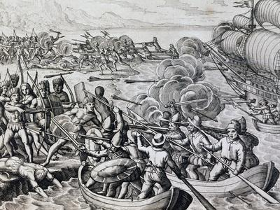 Clash Between Native Indians and Spanish Troops, Engraving from Historia Americae
