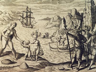 Dutch Captain Sebalt De Weert Landing on the Coast of Guiana, from Historia Americae