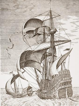 Armed Three-Master on the Open Sea Accompanied by a Galley from 'The Sailing Vessels'