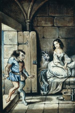 Esmeralda and Quasimodo, Watercolor by Theophile Gautier