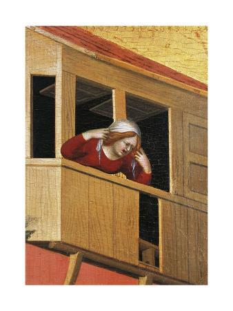 Woman Leaning over Balcony