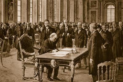 Britain's Prime Minister Signing the Treaty of Peace with Germany in the Hall of Mirrors