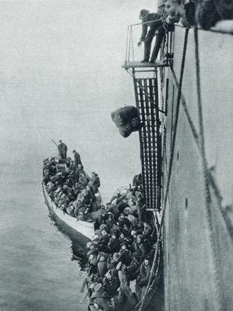 Troops and Stores Being Landed in Gallipoli from a British Ship During World War I