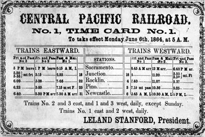 Photographic Print of the Central Pacific Railroad Company's Original Timetable for 6th June 1864