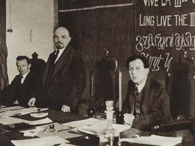 Lenin in the Presidium of the First Congress of the Communist International in the Kremlin