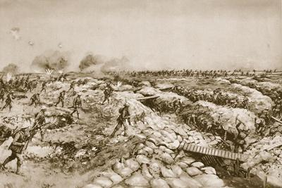 At the Outset of the 'Big Push': British Advancing over the Captured German Trenches at the Somme