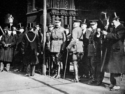 Lord Kitchener at Manchester for a Parade: the Minister for War on the Steps of the Town Hall