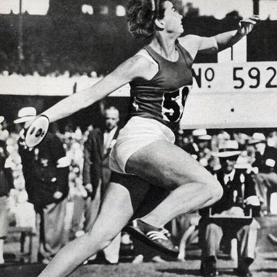 Olga Fikotova of Czechoslovakia Setting a New Olympic Record in the Final of the Women's Discus