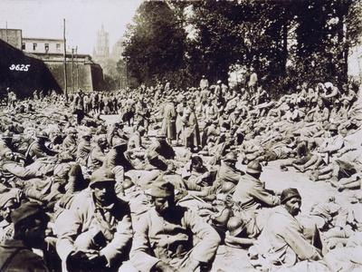 French Prisoners Assembled in the Citadel of Laon after the Battle of Chemin Des Dames