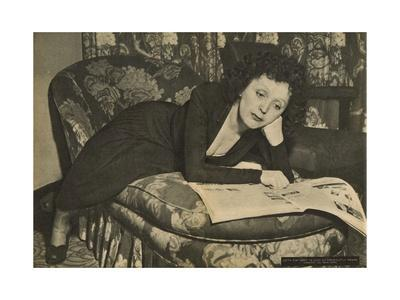 Edith Piaf in Her Room at the 'Versailles' Cabaret Club