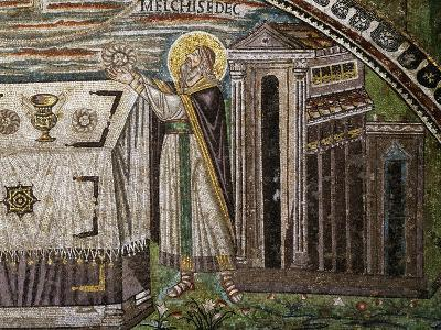 Altar, Melchizedek Bringing Bread as Offering and Temple
