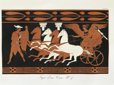 Scene from Ancient Greek Vase with Heracles on a Quadriga Driven by Nike