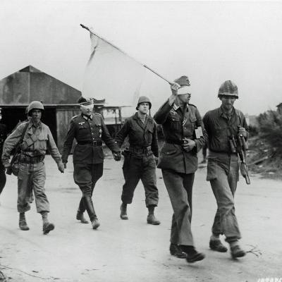 Three German Officers Have Been Taken Prisoner and are Being Led Back