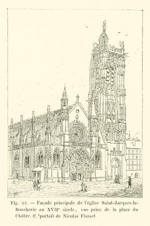 Facade Principale De L'Eglise Saint-Jacques-La-Boucherie Au XVIIe Siecle