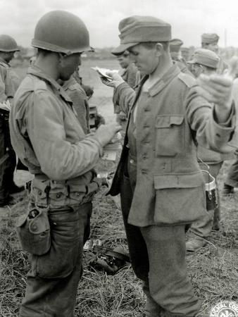 American Soldiers Checking German Prisoners and their Military Papers
