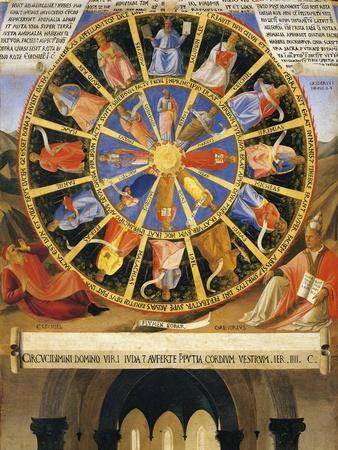 Inset Depicting Mystic Wheel with Figures of Prophets and Evangelists