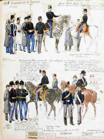 Uniforms of Grand Duchy of Tuscany in 1851