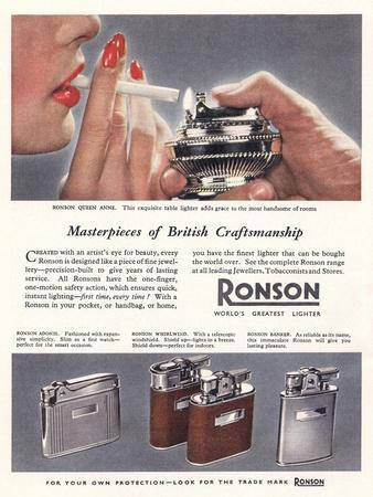 Advert for 'Ronson' Lighters