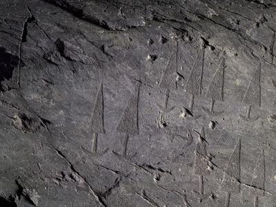 Spearheads, Rock Carvings in the Massi Di Cemmo National Archaeological Park, Val Camonica