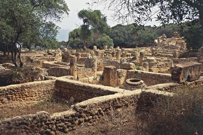 Ruins of Commercial District from Roman Empire Overlooking Sea, Ancient City of Tipasa