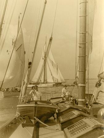 """Hugh Matheson and His Crew Ready His Boat """"Esperanza"""" for the Miami Nassau Race, 1935"""