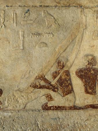 Painted Bas Relief Depicting Musicians, Lasen Tomb, Western Cemetery of Giza Necropolis