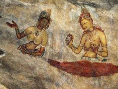 Apsaras, Heavenly Nymphs Offering Flowers, Fresco, Fortified Citadel of Sigiriya