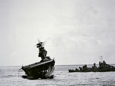 American Aircraft Carrier USS Yorktown Sinking, Battle of Midway, June 1942