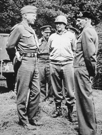 General George S. Patton Wearing an Ivory-Handled Revolver, with 'Monty' and General Bradley