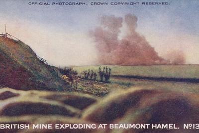British Mine Exploding at Beaumont Hamel, France, Battle of the Somme, World War I, 1 July 1916