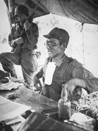 Japanese Prisoner of War Being Questioned by a Us Officer on Okinawa, April 1945
